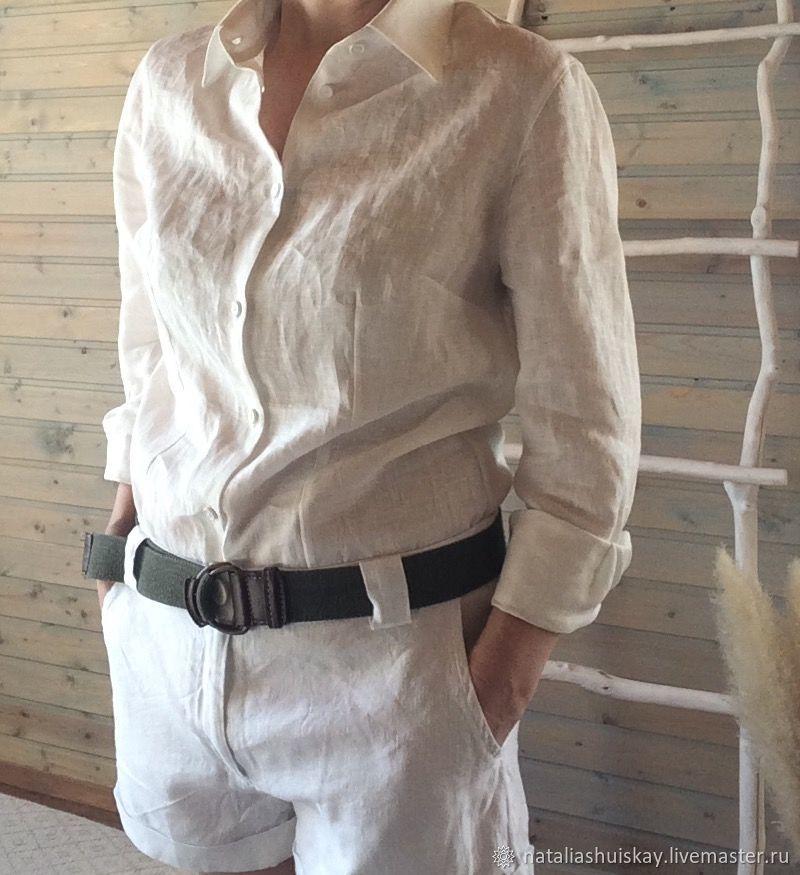 0f579fa6539d5a9 Женская льняная рубашка приталенная. LinenbyNataliaShu. Интернет-магазин  Ярмарка Мастеров