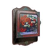 """Для дома и интерьера ручной работы. Ярмарка Мастеров - ручная работа Ключница """"Маки""""Для прихожей, цветы красный. Handmade."""