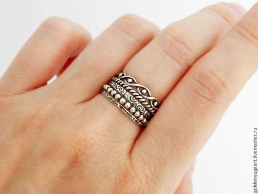 Кольца ручной работы. Ярмарка Мастеров - ручная работа. Купить Набор из пяти колец Treasure, серебро 925 пробы. Handmade.