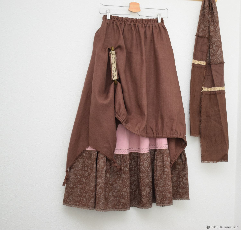 No. №215 Linen double boho skirt, Skirts, Ekaterinburg,  Фото №1