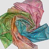 """Аксессуары ручной работы. Ярмарка Мастеров - ручная работа Шелковый платок с росписью """"Четыре любимых оттенка"""" натуральный шелк. Handmade."""