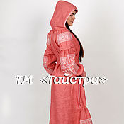 Одежда ручной работы. Ярмарка Мастеров - ручная работа Платье с капюшоном  вывышитое,лен,бохо, этно стиль  Vita Kin,Bohemian. Handmade.