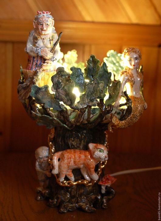 """Освещение ручной работы. Ярмарка Мастеров - ручная работа. Купить """"Лукоморье"""".Керамический светильник-ночник.. Handmade. Комбинированный, светильник керамический"""