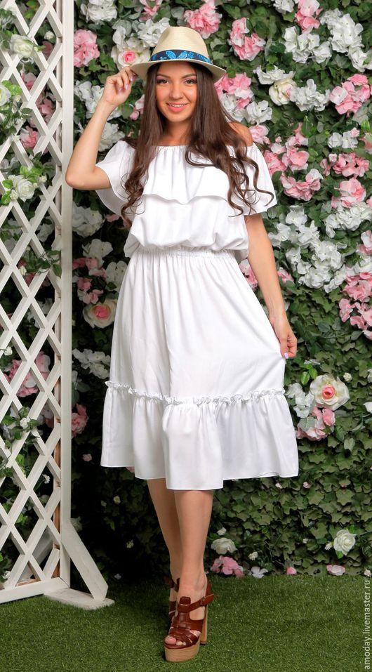 платье белое с воланом платье - сарафан пляжный платье весна-лето 2016 платье для девушки летнее пляжное платье белое сарафан летний купить платье в отпуск платье на лето пляжный сарафан пляж