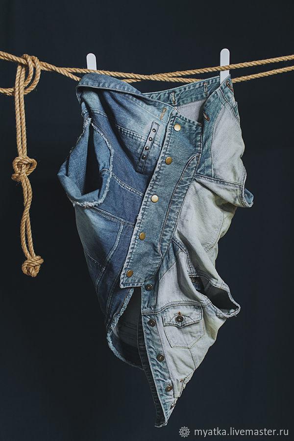 Апсайкл джинсовая юбка на кнопках, Юбки, Москва,  Фото №1