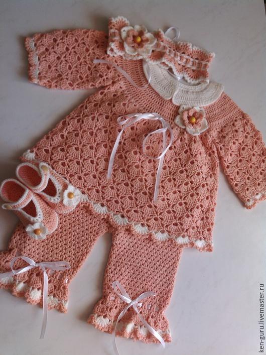 """Одежда для девочек, ручной работы. Ярмарка Мастеров - ручная работа. Купить Комплект для малышки """"Нежный персик"""". Handmade. Комплект для девочки"""