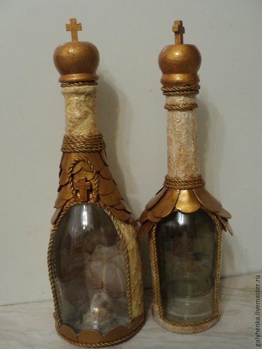 Декоративная посуда ручной работы. Ярмарка Мастеров - ручная работа. Купить бутылочки под святую  водичку. Handmade. Разноцветный, стекло