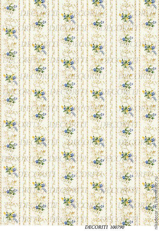 Декупаж и роспись ручной работы. Ярмарка Мастеров - ручная работа. Купить Полоска с мелкими букетиками (D100790) - рисовая бумага, А4. Handmade.