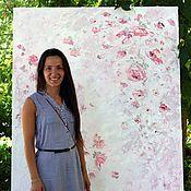 Большая картина масло Розовые Красные Цветы Пионы холст в гостиную дом