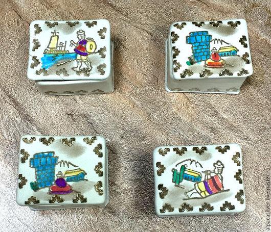 Шкатулки ручной работы. Ярмарка Мастеров - ручная работа. Купить Кожаные коробочки прямоугольные, с рисунками. Handmade. Бежевый, коробка, красный