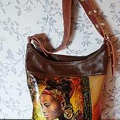Сумки и аксессуары handmade. Livemaster - original item Leather bag with hand-painted African Motifs. Handmade.