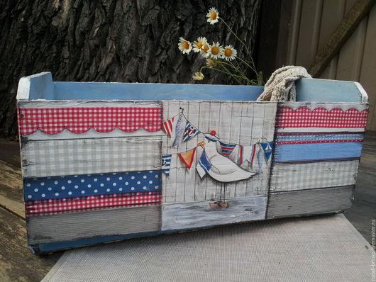 Корзины, коробы ручной работы. Ярмарка Мастеров - ручная работа. Купить Ящик деревянный морской Возьмите  меня  юнгой .. Handmade.