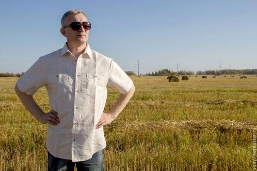 """Для мужчин, ручной работы. Ярмарка Мастеров - ручная работа. Купить Льняная сорочка """"Классика"""". Handmade. Бежевый, мужская одежда"""