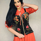 Одежда handmade. Livemaster - original item Exclusive set of dress and vest with embroidered