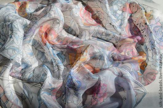 Шали, палантины ручной работы. Ярмарка Мастеров - ручная работа. Купить Батик-платок Зимние розы. Роспись по шелку.. Handmade.