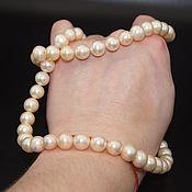 Материалы для творчества handmade. Livemaster - original item Natural pearl light gold beads 9-10mm AAA grade. Handmade.