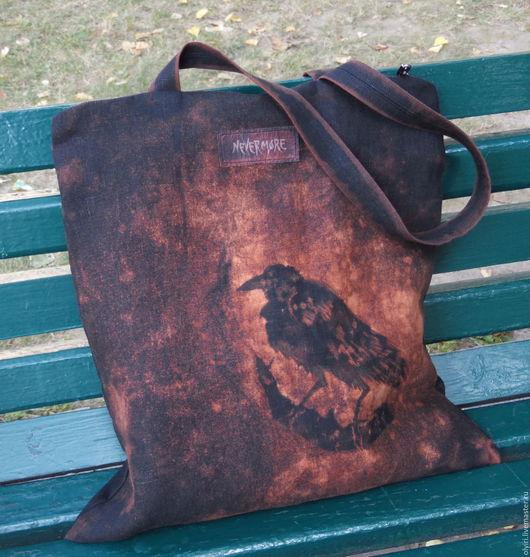 оригинальная большая стильная сумка из вощёного льна, сумка в готическом стиле с изображением ворона, nevermore,  готический стиль, унисекс, ворон,