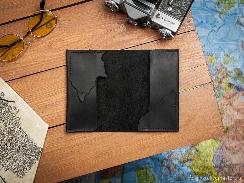 Кожаная обложка на паспорт ручной работы WANDERING цвет Черный, Обложка на паспорт, Тула,  Фото №1