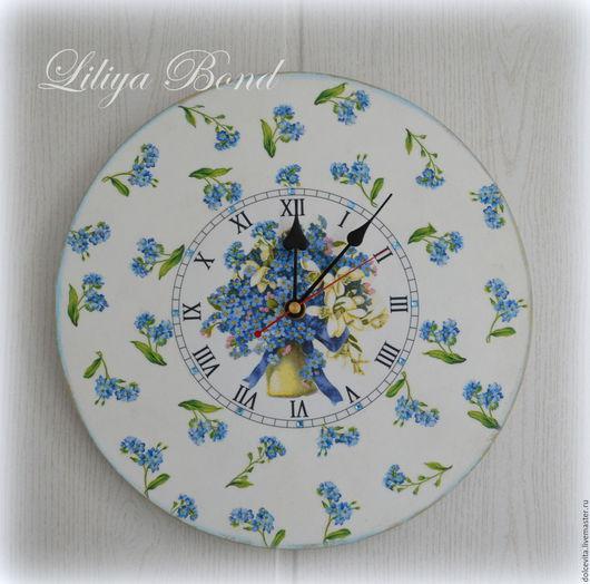"""Часы для дома ручной работы. Ярмарка Мастеров - ручная работа. Купить Часы настенные """"Незабудки"""". Handmade. Комбинированный, подарок"""