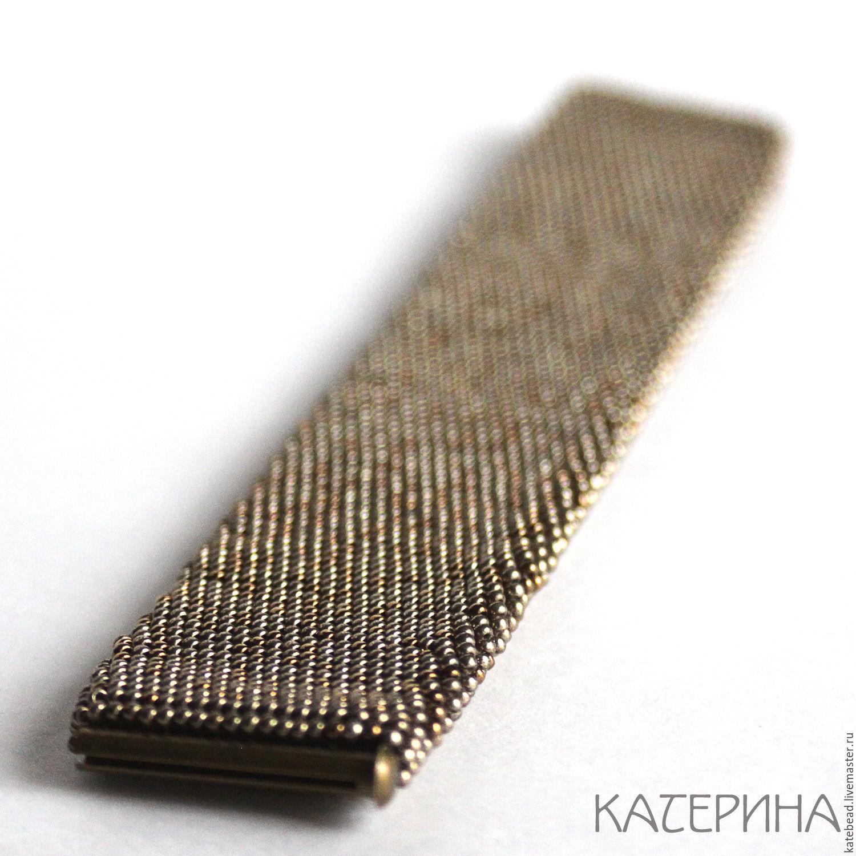Как вязать широкий браслет из бисера