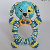 Куклы и игрушки handmade. Livemaster - original item The dog Is a rattle on wooden ring crochet. Handmade.