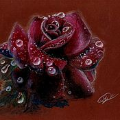 Картины и панно ручной работы. Ярмарка Мастеров - ручная работа Роза. (Рисунок масляной пастелью). Handmade.