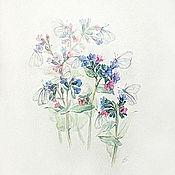 Картины и панно ручной работы. Ярмарка Мастеров - ручная работа Второй приз! Медуница в цвету и в бабочках, акварель. Handmade.