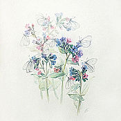 Картины и панно handmade. Livemaster - original item Second prize! Lungwort in bloom and butterflies, watercolor. Handmade.