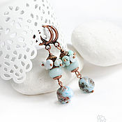 Украшения handmade. Livemaster - original item Earrings with larimar