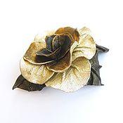 "Brooches handmade. Livemaster - original item Leather flower brooch Rose ""Treasure"". Silver gold bronze. Handmade."