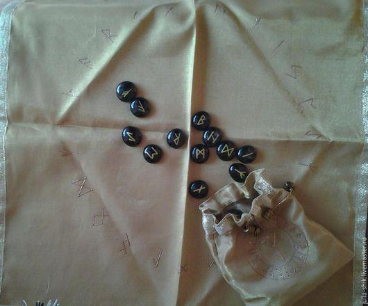 Гадания ручной работы. Ярмарка Мастеров - ручная работа. Купить Рунный набор с гадальным полотном, золотой.. Handmade. Золотой, знаки