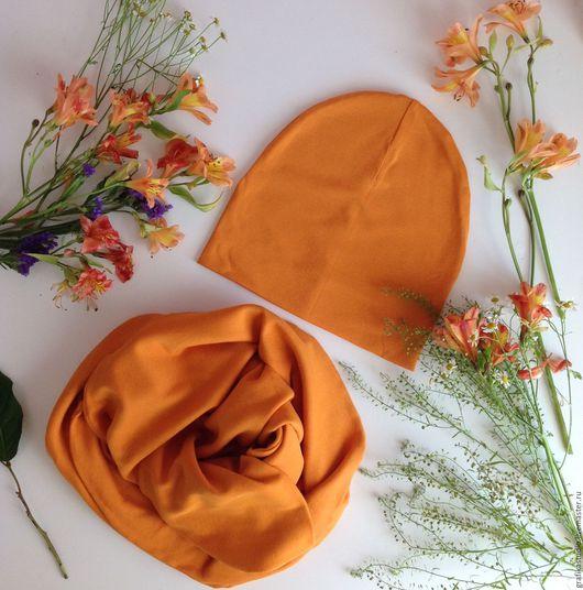 Шапки ручной работы. Ярмарка Мастеров - ручная работа. Купить Трикотажная шапка и снуд оранжевый. Handmade. Оранжевый, апельсиновый, шарф