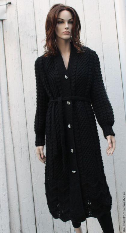 Кофты и свитера ручной работы. Ярмарка Мастеров - ручная работа. Купить Вязаное пальто ручной работы Черная пантера. Handmade.