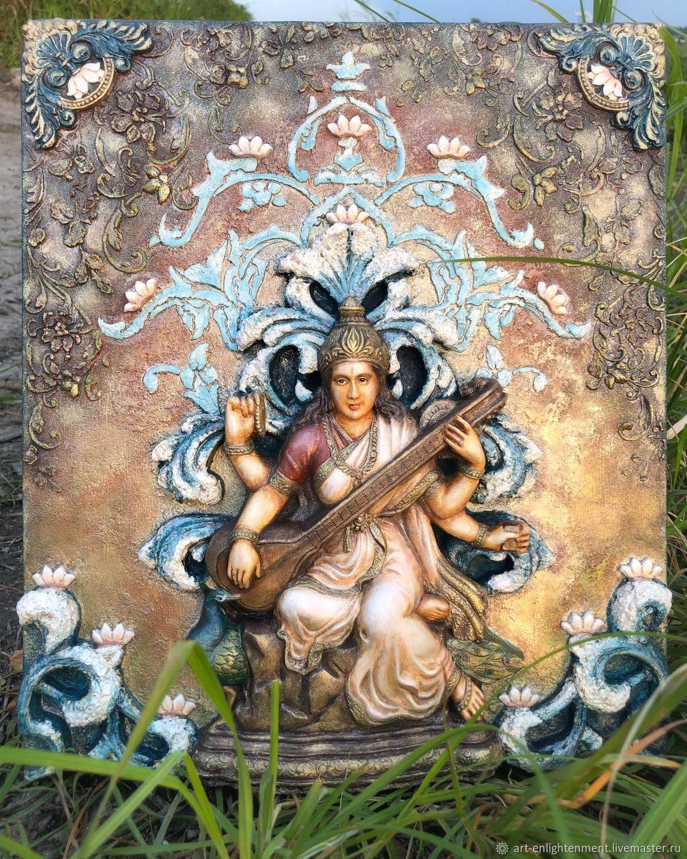 Сарасвати. Богиня мудрости. Объёмная картина для алтаря, васту, йоги, Картина фэншуй, Шадринск,  Фото №1