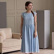 Одежда handmade. Livemaster - original item Blue linen dress with white lace. Handmade.