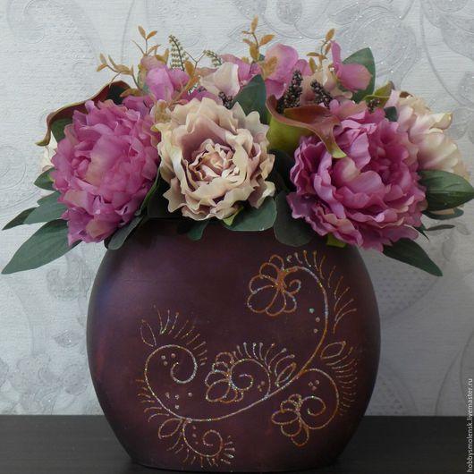 Интерьерные композиции ручной работы. Ярмарка Мастеров - ручная работа. Купить Цветочная композиция в керамической вазе. Handmade. Подарок