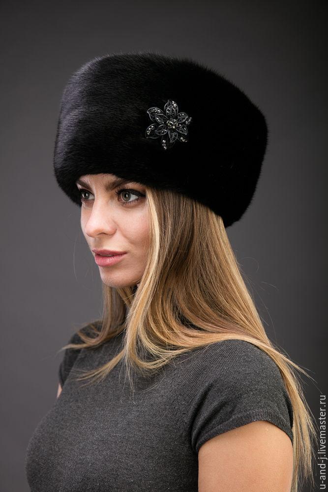 Меховая шапка из норки черная, Аксессуары, Москва, Фото №1