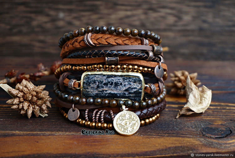 Boho-chic bracelet with bronzite and hematite ' Chocolate', Bead bracelet, Moscow,  Фото №1
