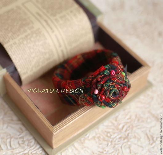 """Браслеты ручной работы. Ярмарка Мастеров - ручная работа. Купить текстильный  браслет в стиле БОХО """"Шотландская клетка. Handmade. Шотландия"""