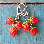 """Украшения ручной работы. Ярмарка Мастеров - ручная работа Серьги лэмпворк """"Red strawberries"""". Handmade."""