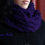 Аксессуары handmade. Livemaster - original item Purple chunky knit Snood. Handmade.