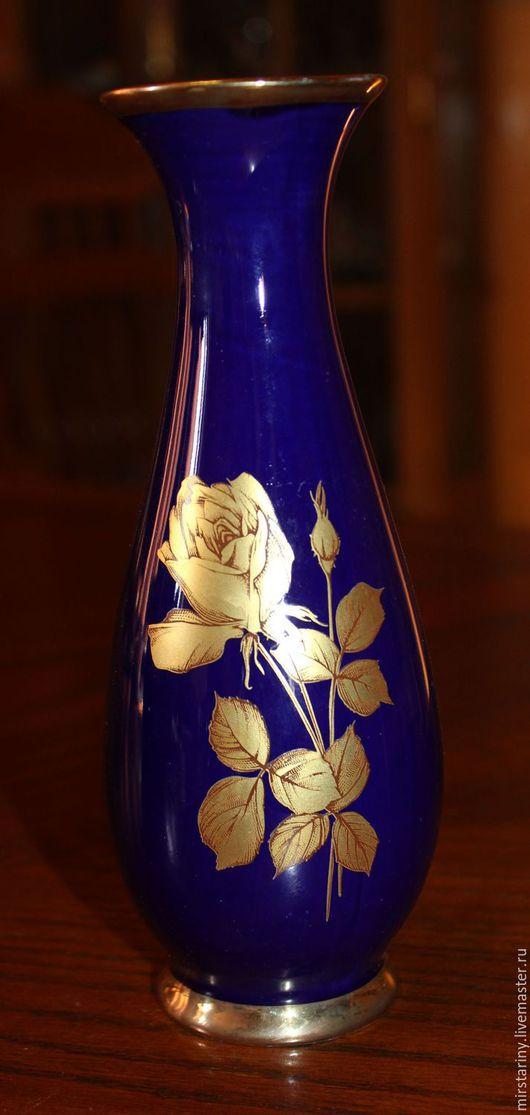Винтажные предметы интерьера. Ярмарка Мастеров - ручная работа. Купить Красивая кобальтовая ваза с золотой розой, Royal KPM, Германия. Handmade.