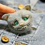 Украшения handmade. Livemaster - original item Felted brooch Cheshire cat. Handmade.