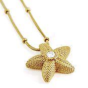 Украшения handmade. Livemaster - original item Golden pendant Sea star with diamond. Handmade.