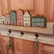 """Ключницы ручной работы. Ярмарка Мастеров - ручная работа """"Голландский квартал"""" - ключница-вешалка. Handmade."""
