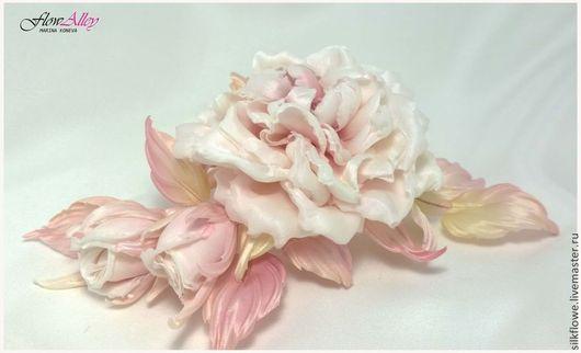 """Цветы ручной работы. Ярмарка Мастеров - ручная работа. Купить Роза из шелка """"Blush"""" - Румянец. Цветы из шелка.. Handmade."""