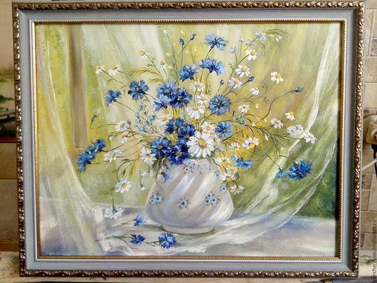 """Картины цветов ручной работы. Ярмарка Мастеров - ручная работа. Купить Картина маслом """"Полевые цветы"""". Handmade. Голубой"""