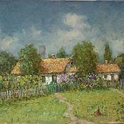 Картины и панно handmade. Livemaster - original item summer rural landscape with a house oil painting. Handmade.