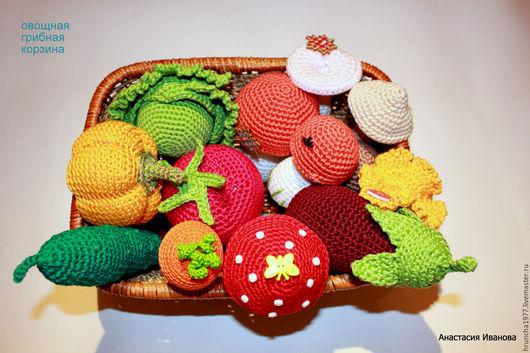 Развивающие игрушки ручной работы. Ярмарка Мастеров - ручная работа. Купить Корзина с грибами и овощами. Handmade. Комбинированный, подарок для девочки