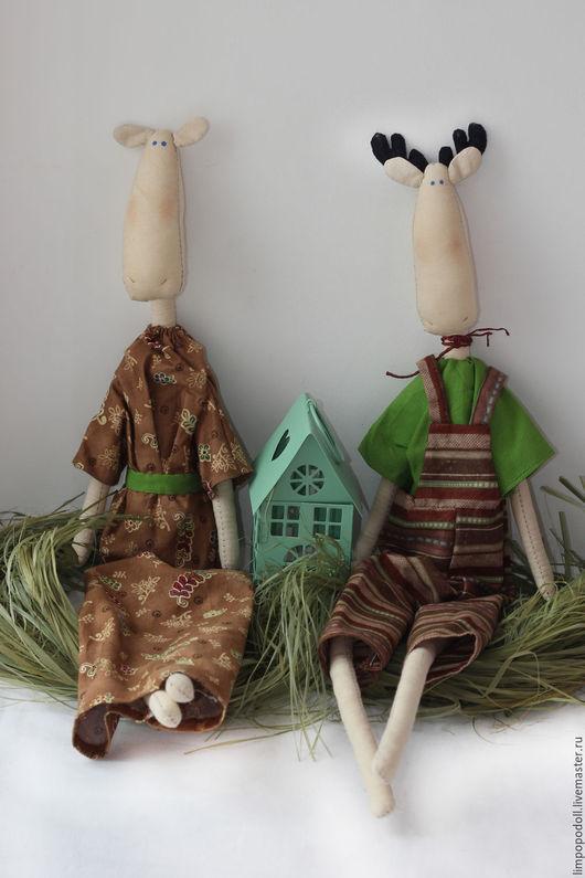 Куклы Тильды ручной работы. Ярмарка Мастеров - ручная работа. Купить Семья лосей. Handmade. Бежевый, лось, семья, тильда